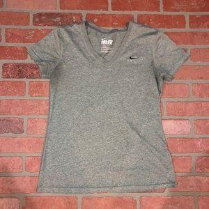 Nike grey dri fit v neck women's shirt